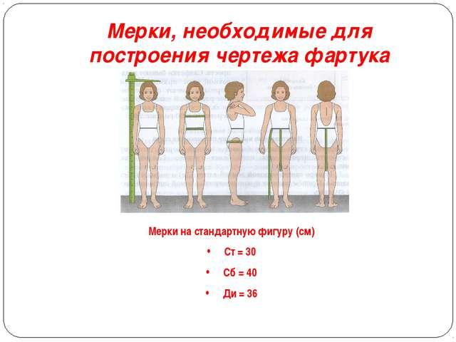 Мерки, необходимые для построения чертежа фартука Мерки на стандартную фигуру...
