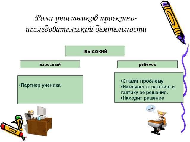 Роли участников проектно-исследовательской деятельности высокий взрослый ребе...