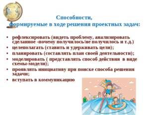 Способности, формируемые в ходе решения проектных задач: рефлексировать (виде