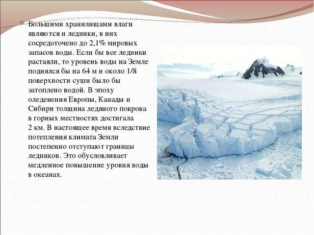 Большими хранилищами влаги являются и ледники, в них сосредоточено до 2,1% ми...