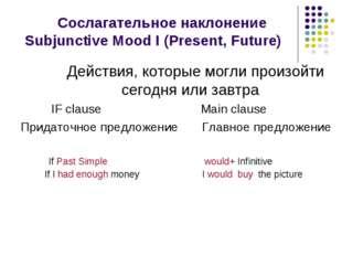 Сослагательное наклонение Subjunctive Mood I (Present, Future) Действия, кот