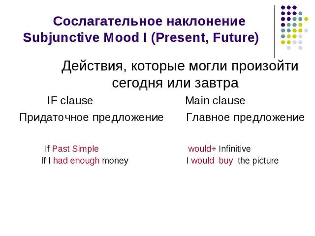 Сослагательное наклонение Subjunctive Mood I (Present, Future) Действия, кот...