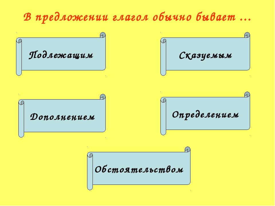 В предложении глагол обычно бывает … Подлежащим Сказуемым Дополнением Определ...