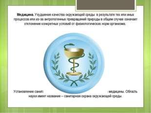 Медицина. Ухудшение качества окружающей среды в результате тех или иных проце
