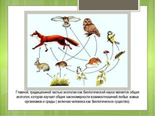 Главной, традиционной частью экологии как биологической науки является общая