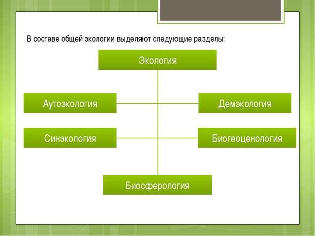 В составе общей экологии выделяют следующие разделы: Экология Аутоэкология Си...
