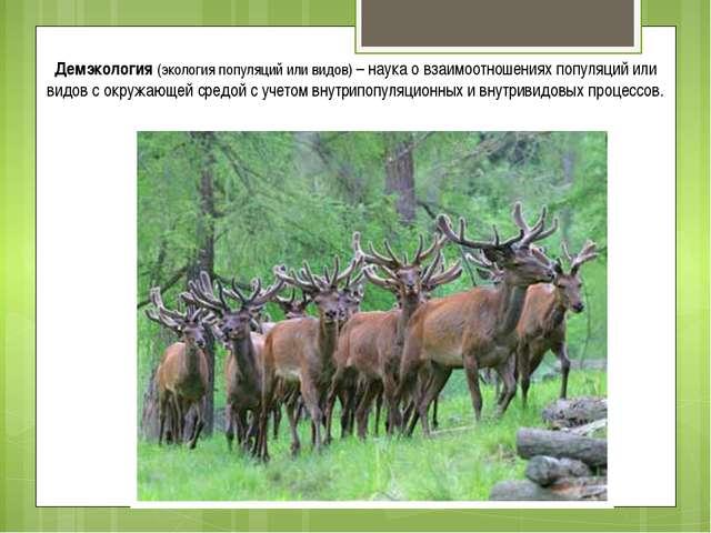 Демэкология (экология популяций или видов) – наука о взаимоотношениях популяц...
