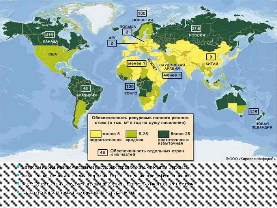 К наиболее обеспеченным водными ресурсами странам мира относятся Суринам, Га...