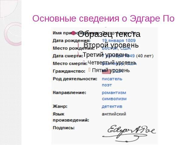 Основные сведения о Эдгаре По