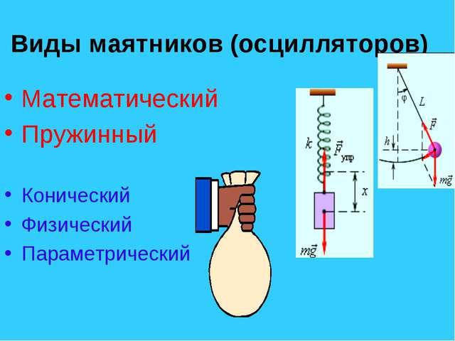 Виды маятников (осцилляторов) Математический Пружинный Конический Физический...