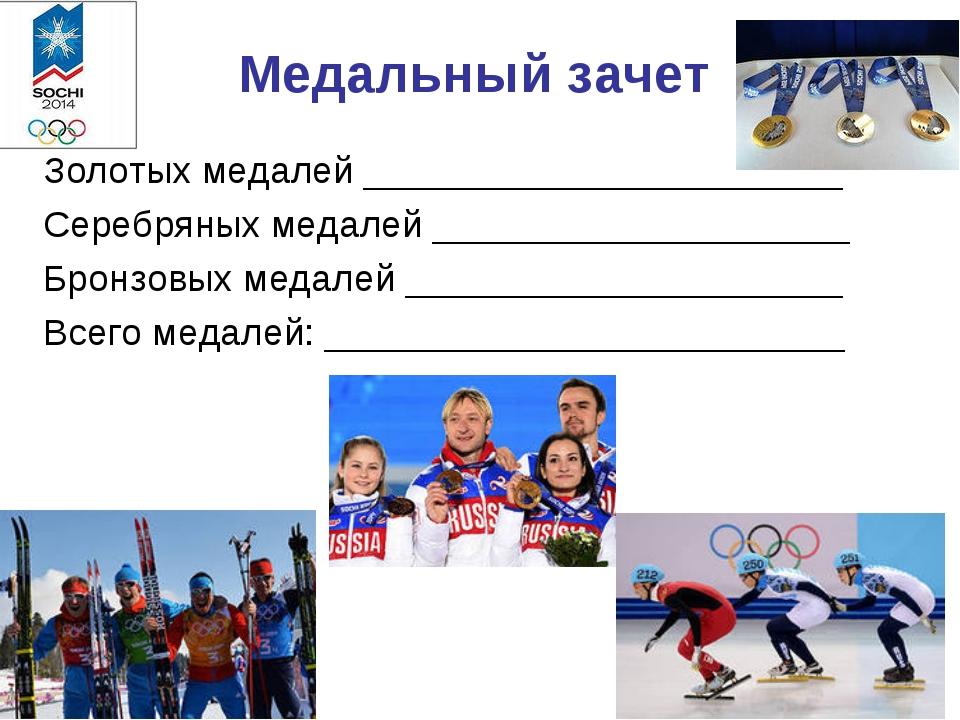 Медальный зачет Золотых медалей _______________________ Серебряных медалей __...