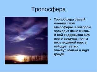 Тропосфера Тропосфера самый нижний слой атмосферы, в котором проходит наша жи
