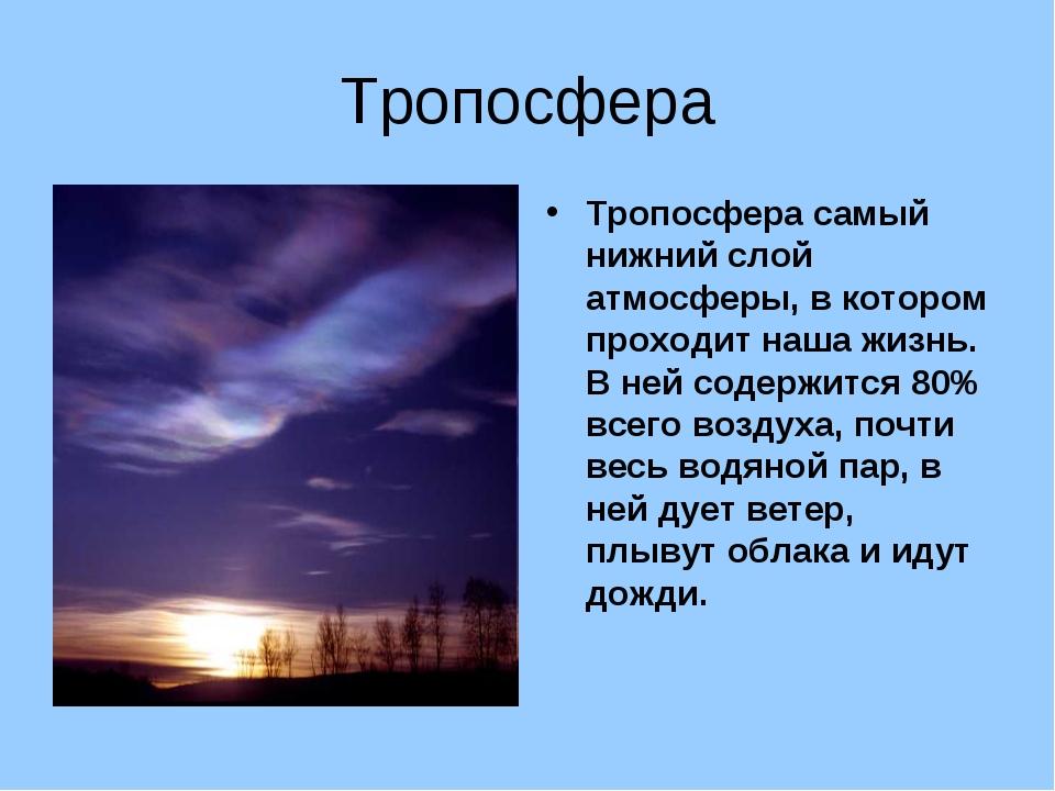 Тропосфера Тропосфера самый нижний слой атмосферы, в котором проходит наша жи...