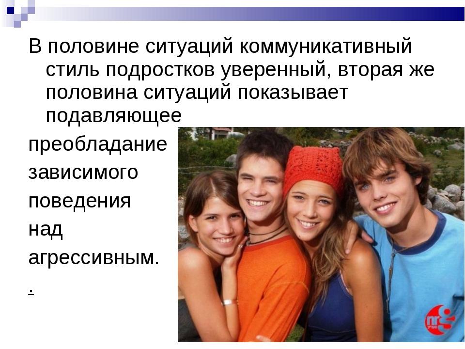 В половине ситуаций коммуникативный стиль подростков уверенный, вторая же пол...