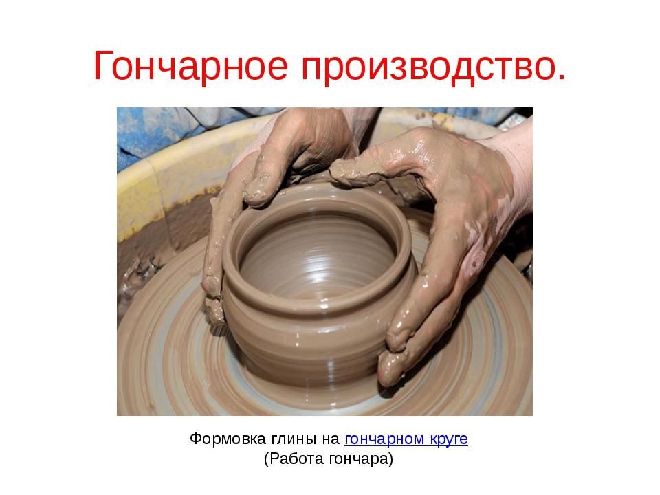 Гончарное производство. Формовка глины нагончарном круге (Работагончара) Фо...