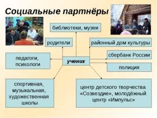 Социальные партнёры библиотеки, музеи ученик педагоги, психологи родители рай
