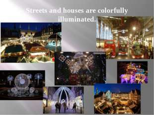 Streets and houses are colorfully illuminated.