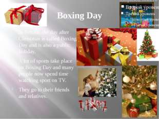 Boxing Day In Britain, the day after Christmas is called Boxing Day and is al