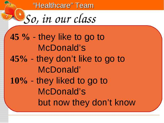So, in our class 45 % - they like to go to McDonald's 45% - they don't like...