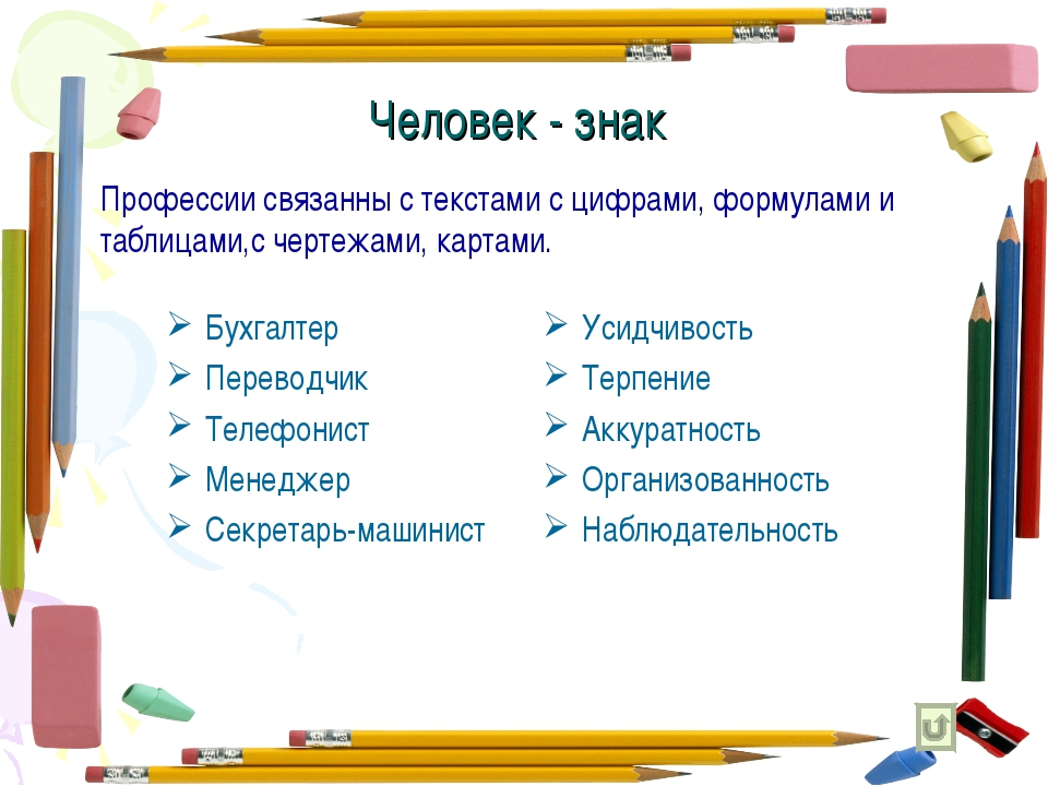 Человек - знак Бухгалтер Переводчик Телефонист Менеджер Секретарь-машинист Ус...