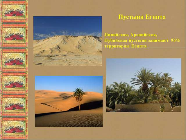 Пустыни Египта Ливийская, Аравийская, Нубийская пустыни занимают 96% террито...