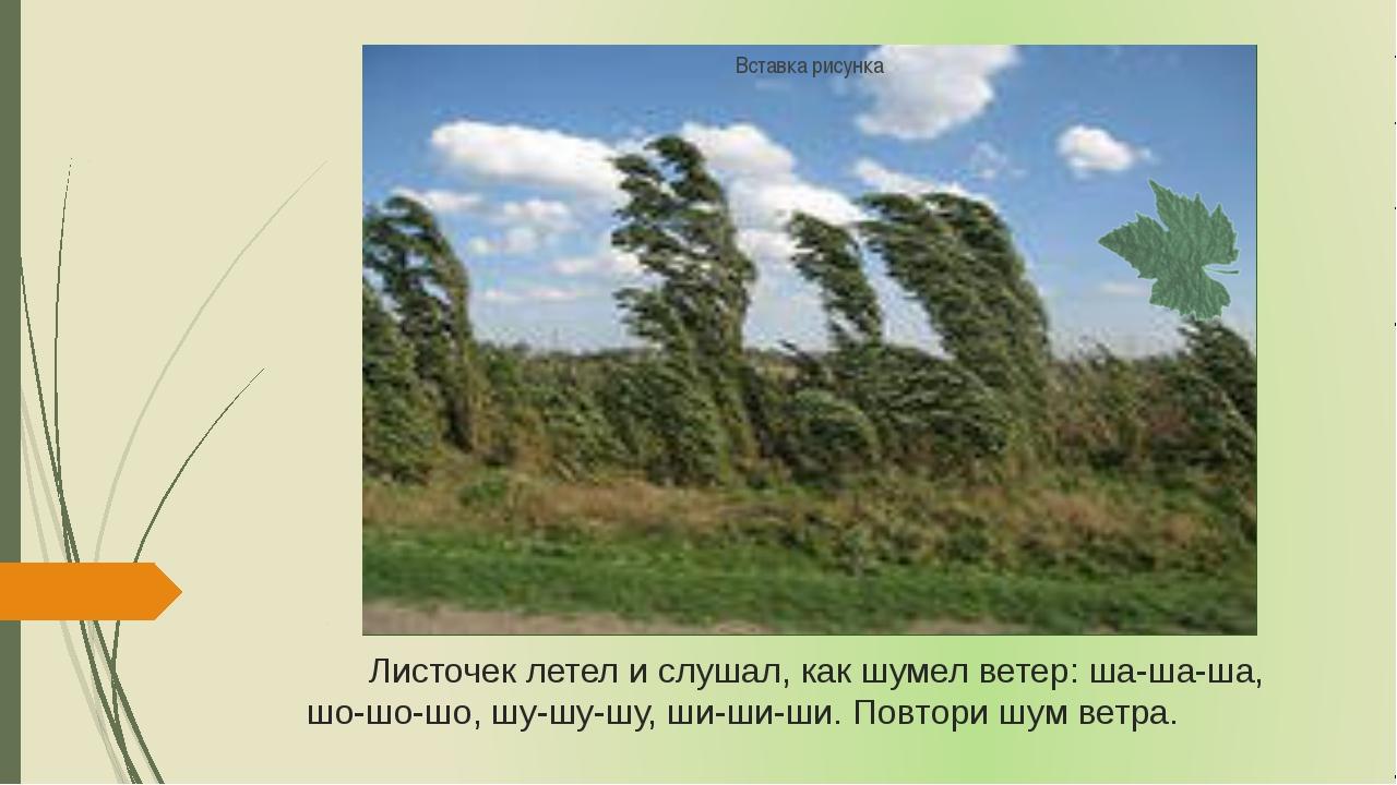 Листочек летел и слушал, как шумел ветер: ша-ша-ша, шо-шо-шо, шу-шу-шу, ши-ши...