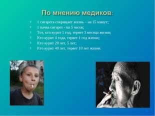 1 сигарета сокращает жизнь – на 15 минут; 1 пачка сигарет - на 5 часов; Тот,