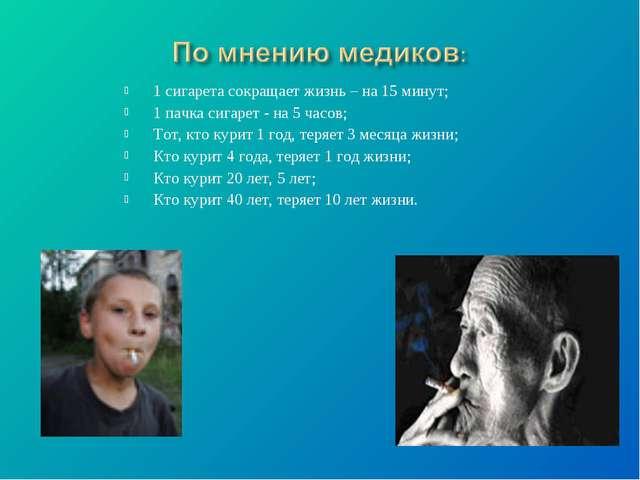 1 сигарета сокращает жизнь – на 15 минут; 1 пачка сигарет - на 5 часов; Тот,...