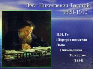 Лев Николаевич Толстой 1828-1910 Н.Н. Ге «Портрет писателя Льва Николаевича Т