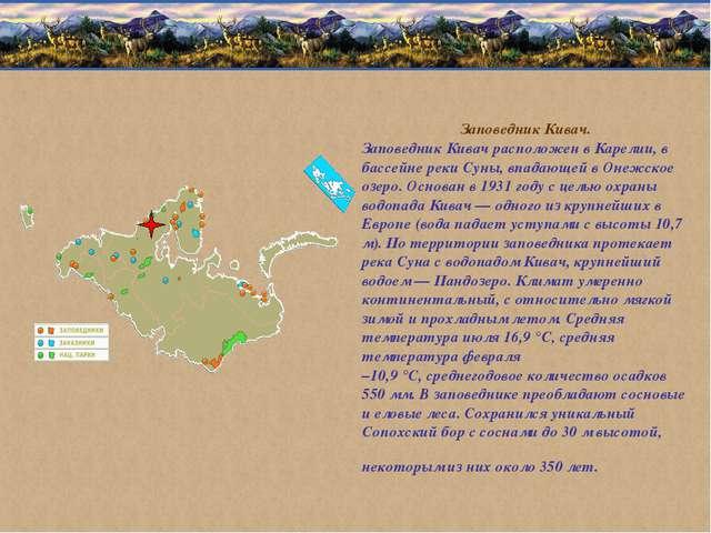 Заповедник Кивач. Заповедник Кивач расположен в Карелии, в бассейне реки Суны...