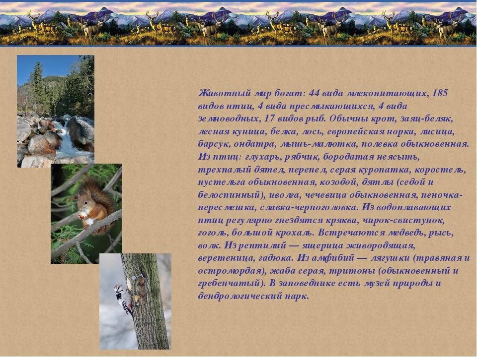 Животный мир богат: 44 вида млекопитающих, 185 видов птиц, 4 вида пресмыкающи...