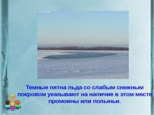 Темные пятна льда со слабым снежным покровом указывают на наличие в этом мест