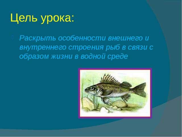 Цель урока: Раскрыть особенности внешнего и внутреннего строения рыб в связи...
