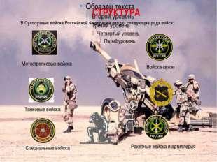 СТРУКТУРА В Сухопутные войска Российской Федерации входят следующие рода вой