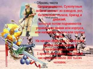 Организационно, Сухопутные войска состоят из взводов, рот, батальонов, полков