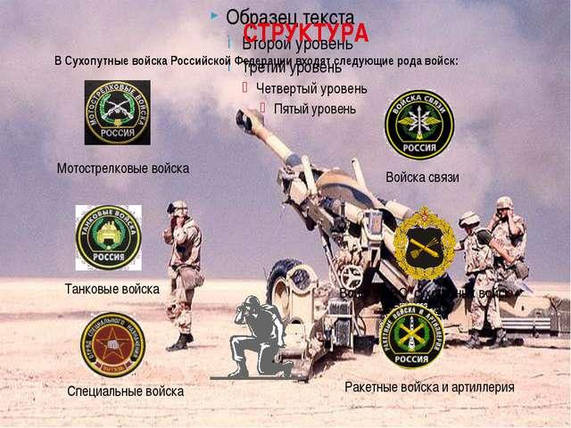 СТРУКТУРА В Сухопутные войска Российской Федерации входят следующие рода вой...