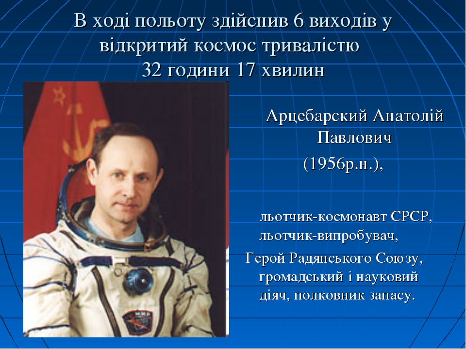 В ході польоту здійснив 6 виходів у відкритий космос тривалістю 32 години 17...