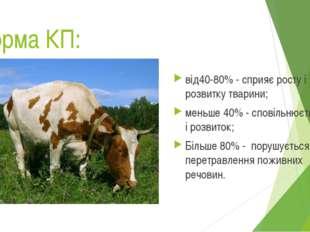 Норма КП: від40-80% - сприяє росту і розвитку тварини; меньше 40% - сповільню