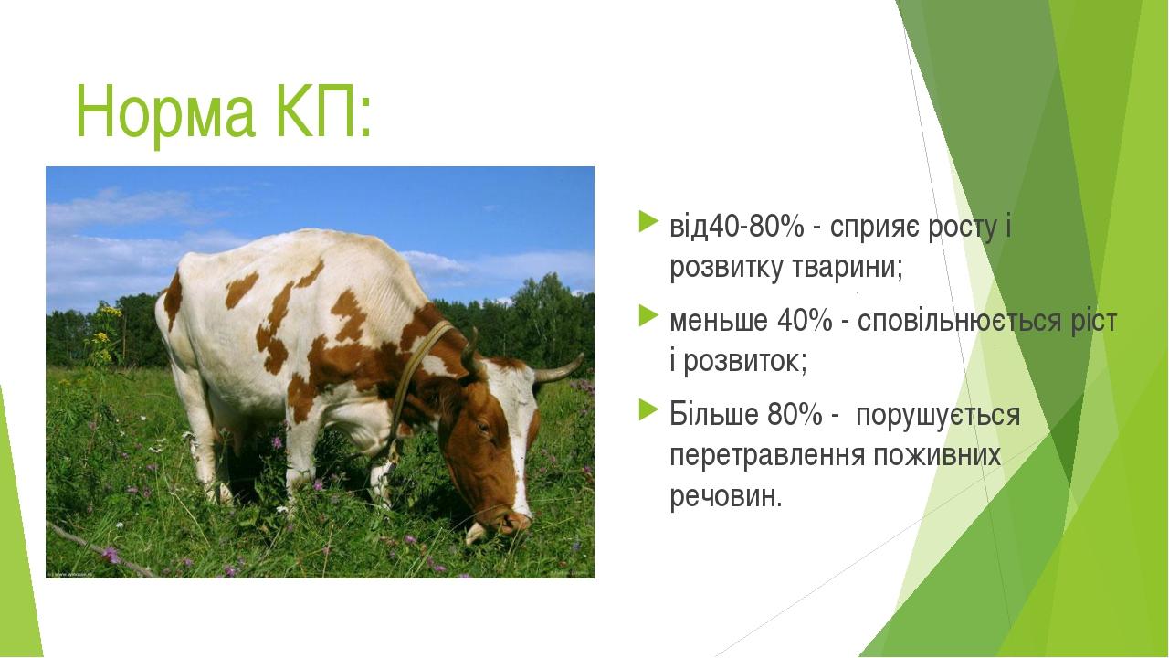 Норма КП: від40-80% - сприяє росту і розвитку тварини; меньше 40% - сповільню...