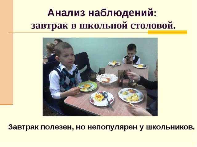Анализ наблюдений: завтрак в школьной столовой. Завтрак полезен, но непопуляр...