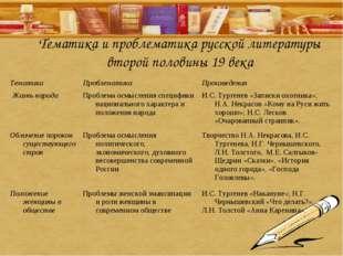 Тематика и проблематика русской литературы второй половины 19 века ТематикаП