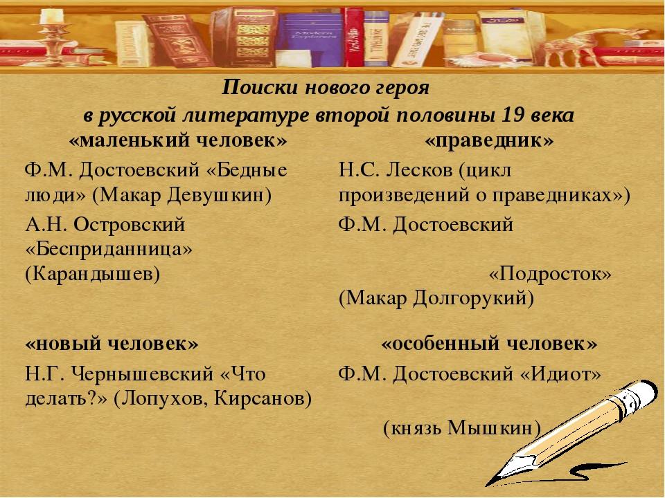 Поиски нового героя в русской литературе второй половины 19 века «маленький ч...