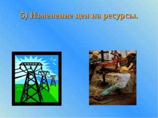 5) Изменение цен на ресурсы.