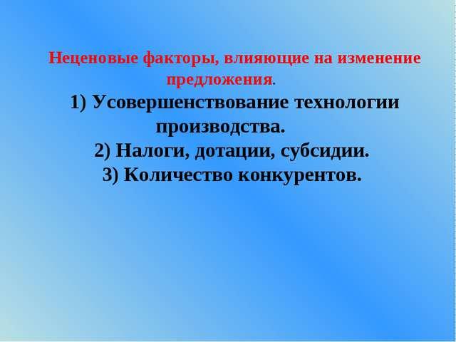 Неценовые факторы, влияющие на изменение предложения. 1) Усовершенствование т...