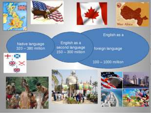 English as a foreign language 100 – 1000 million English as a second languag