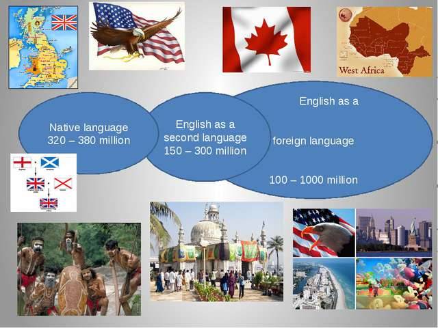 English as a foreign language 100 – 1000 million English as a second languag...