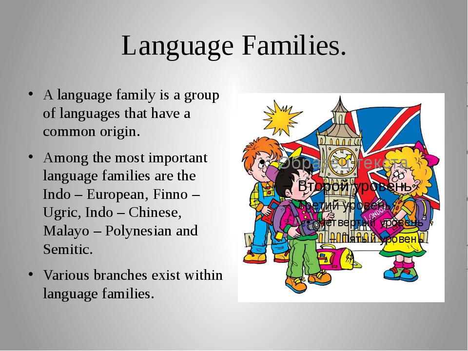 Language Families. A language family is a group of languages that have a comm...