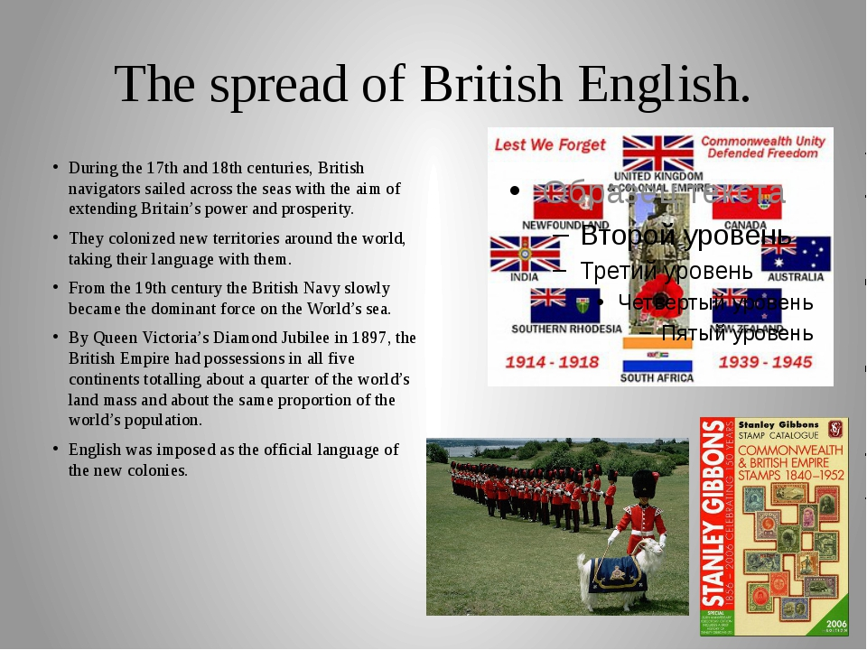The spread of British English. During the 17th and 18th centuries, British na...