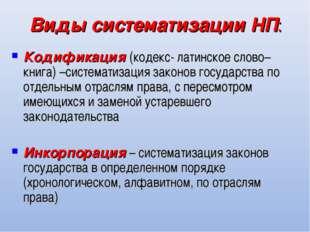 Виды систематизации НП: Кодификация (кодекс- латинское слово–книга) –системат