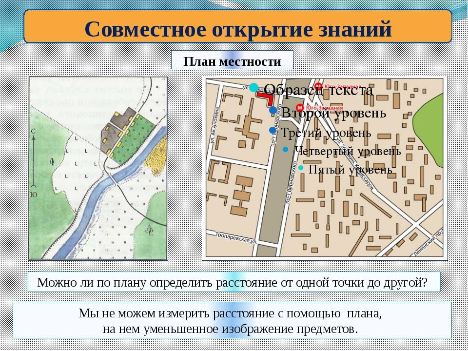 План местности Совместное открытие знаний Можно ли по плану определить рассто...